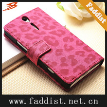 wallet leather case for Sony Xperia S LT26i with stand leopard pattern