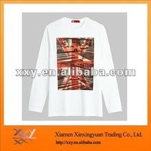 Custom White Round Neck Long Sleeve T-shirt Soft Cotton