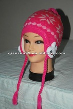 children girl knitted hat with earflaps