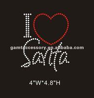 I Love Santa rhinestones iron on transfer custom design for T-shirt