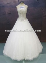 (A6518)New Arrival Popular Design Sexy Sweetheart See-through Bodice Lace Hemline Appliqued Tulle Ball-gown Wedding Dress 2012