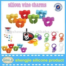 2012 Hot colorful silicone wine charm for wine glass in party