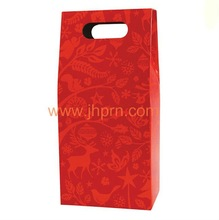 Red color wine bags for 2 bottles gift wine with handle