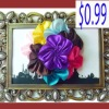 Satin cluster flower applique for headband hair clip etc