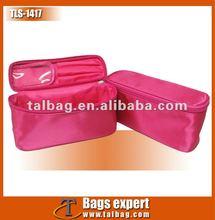 Satin brush set cosmetic bag