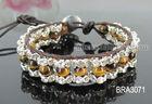 Newest! Fashion making leather wrap beaded rhinestone bracelet