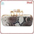 moda snake couro gravado saco de embreagem anel