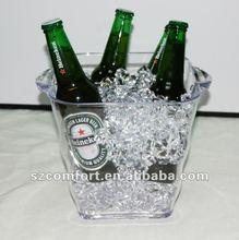 large clear acrylic beer buckets, acrylic beer bottle holders
