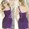 Dark Purple Short Sheath Sequins And Beading One Shoulder Tight Fitted Cocktail Dress