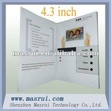 2012 new design 4.3 inch video greeting card decoding fast