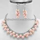 Grape Shaped Faux Pink Pearl Necklace and earrings Jewelry Sets