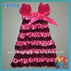 Cute Infant Girl Black & Hot Pink Dot Print Dress Wholesale Adorable Cap Sleeve Satin Baby Dress