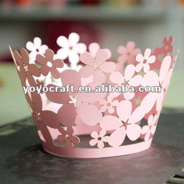Novo design! De corte a laser de bolos de natal decoração forma de neve de papel cupcake acessório