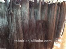 European Coarse Thick Natural Dark Slight Wavy Hair Weft Extension, Longest Hair