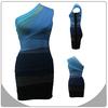 new arrival fashion blue and black one-shoulder bandage dress