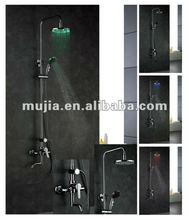 Temperture control 3 color change LED Rain shower bath faucet with LED showerhead