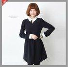 Lady Black Contrast-Collar Minidress