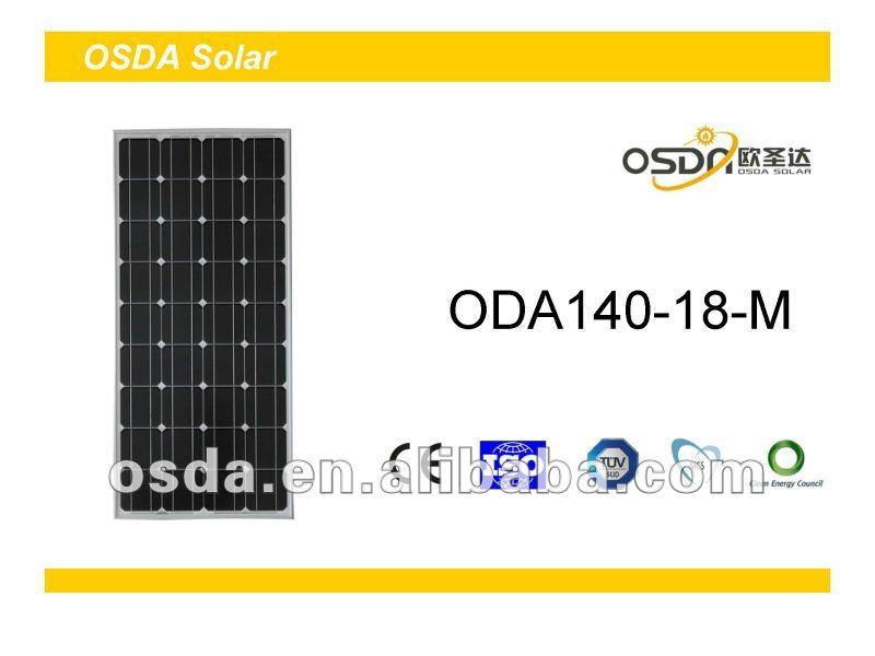 TUV MCS CEC certificated monocrystalline 140W solar panel