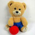 mini marrom urso de pelúcia brinquedos de pelúcia com bola vermelha