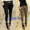 Women Pencil Long Harem Pants Casual Skinny Trousers with metal belt FJ-5673