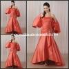 MD11027 Special Design Orange Full Length Taffeta match Sash Floor Length Mother of the Bride Dresses