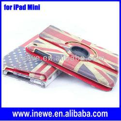 For iPad Mini Retro American Flag Print rotating leather case