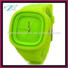 2012 hot cheap fashion unisex jelly square face interchangeable silicone watch 2012