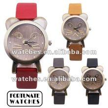 2012 trendy women PU strap cute cat face quartz watches