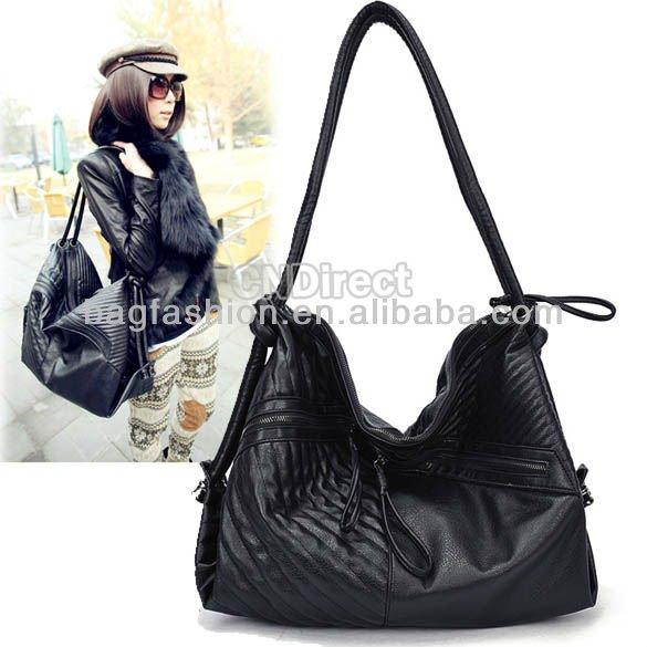 Genuine leather black Handbag ladies large Shoulder bag