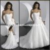 WD1367 Shiny Beaded Crystals Strapless Flower Sash Organza White Fashion Wedding Dress