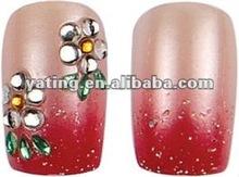 Orange Rhinestones Ladybug Acrylic 3D Nails A