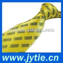Yellow Printed Logo Neckties For Man