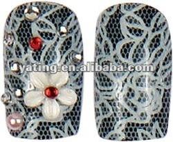Lovely Bow Tie rhinestone 24pcs Acylic foils polka dot 3d nail A