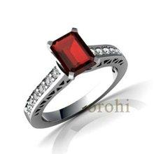 Anillo de plata solida, anillo de compromiso de oro,anillo de la joyeria fina con granate HG137-G-W