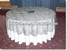 Polyester wedding table cloth and overlay
