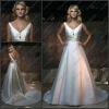 CB-1825 A-line Deep V-neck Wedding Dress Patterns With Sash