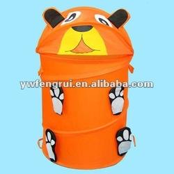 hame and school Useful hamper orange round animal Cartoon dog and bear hamper storage barrel laundry basket tail polyester made