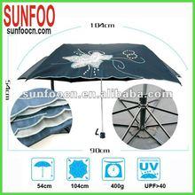 3 folding Hand sun umbrella & embroidery overlock umbrella