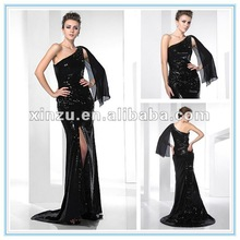 2013 Stunning One Shoulder Sweep Brush Train Front Cut-slit Mermaid Sequined Evening Dress