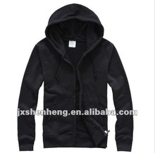 cheap plain black zip solid color 100 cotton hooded sweatshirt wholesale