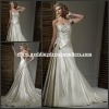 2015 WD111001 Shiny Beaded One Shoulder Champage Satin With Bowknot Gown Princess Wedding Dress