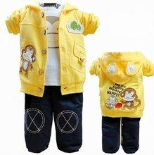 Fashion cartoon monkey printed casual baby clothing sets(3 pcs)