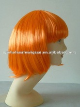 Orange color party wigs synthetic