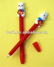 happy goat and grey wolf polymer clay pen