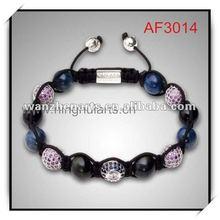 DIY shamballa bracelet crystal beads shamballa yellow and grey factory direct sell AF3014G1