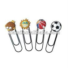football basketball cute shaped paper clip pvc & metal bookmark soft pvc pvc clips