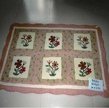 Applique Cotton Floral Anti-slip Floor Carpet