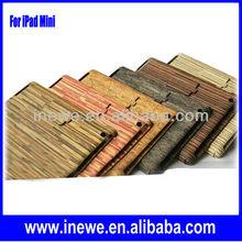Wooden Grain Folded PU Leather Case for iPad Mini