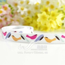 "3/8"" Bird Leaves Printed Ribbon"