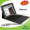 2012 New black bluetooth keyboard for ipad with leather bag case